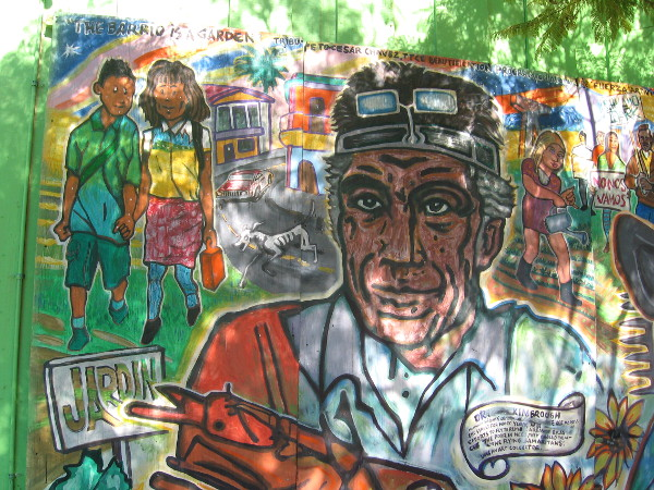 The Barrio is a Garden was painted on wood in 2010 in Sherman Heights.