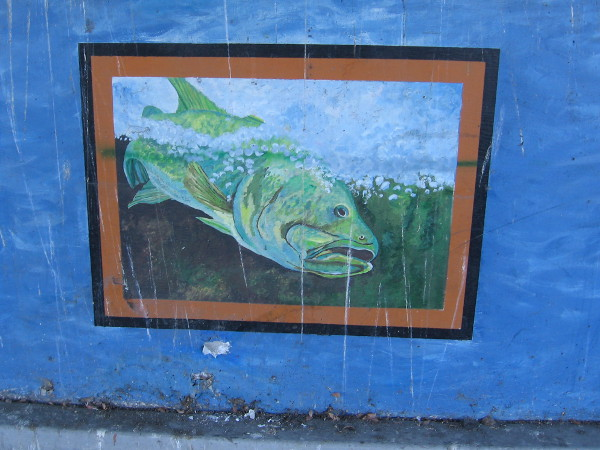 Fish in dry water, painted on a mural near the San Diego River.