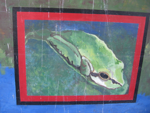 Frog in a painted mural, created by artist Julia C. R. Gray in 2007.