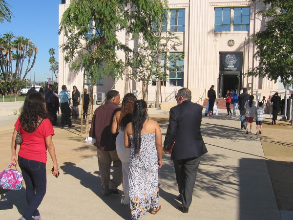 Brides, grooms and guests approach County Administration Building on Valentine's Day.