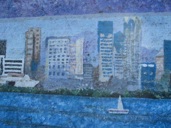 San Diego Bay scene graces a fading mural in Mission Valley.