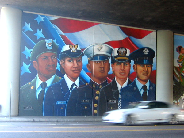 Public art in San Diego honors those who serve in uniform, defending Peace, Liberty, Justice, America , Freedom.