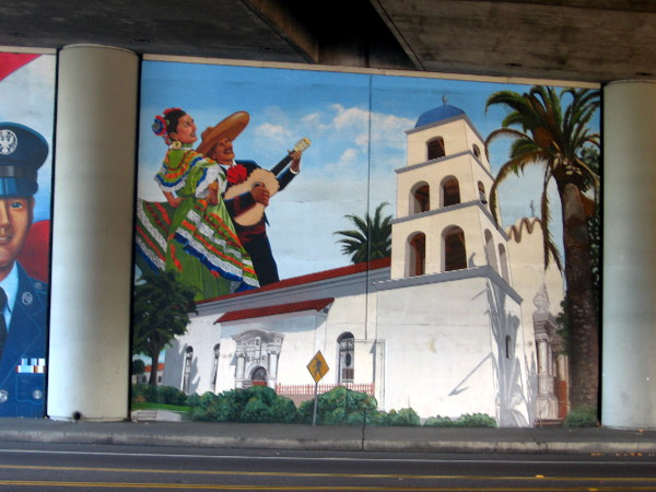 Mural includes two colorful scenes from historic Old Town, just a short walk away.