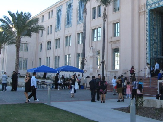 People enter and leave San Diego's County Administration Center in bliss.