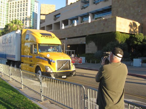 The truck pulls away from Petco Park, heading for the Peoria, Arizona Sports Complex.