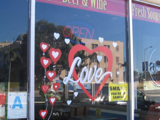 Love is in the air, and across the street at the waiting taco shop.