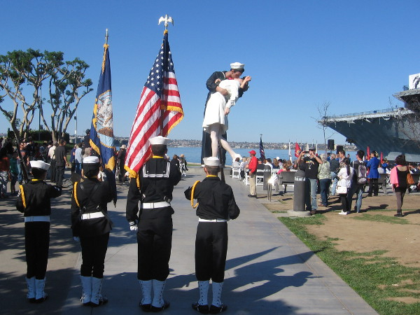 Color guard is ready prior to Spirit of '45 kick off event by USS Midway Museum.
