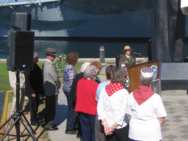 Rosie the Riveters are introduced and thanked for their service. They presented the second wreath.