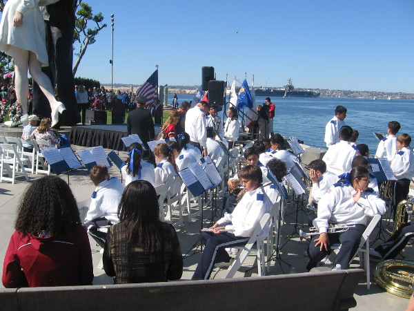 Young band members relax in the San Diego sunshine.