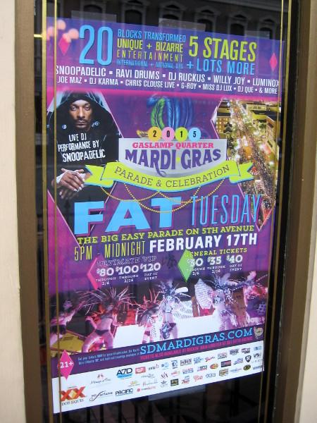 Mardi Gras poster features Snoopadelic (Snoop Dogg).