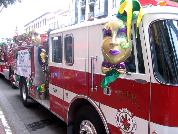 These firetrucks are ready for a big, happy carnival in the Gaslamp Quarter.