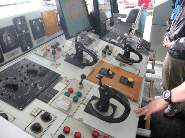 A second photo of the complicated ship control console.