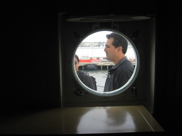 Looking out porthole from the chief scientist's quarters below deck.