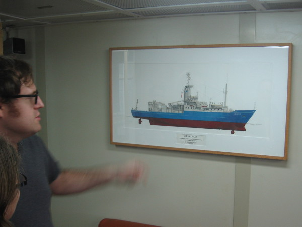 Graphic in library depicts the R/V Melville.