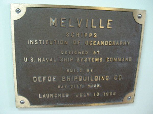 Bronze plaque commemorates the Melville's launch date in 1968.