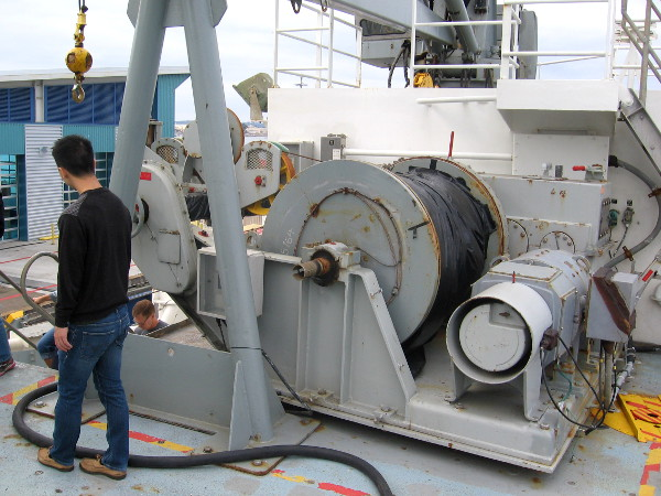 One of many powerful winches on the research vessel Melville.