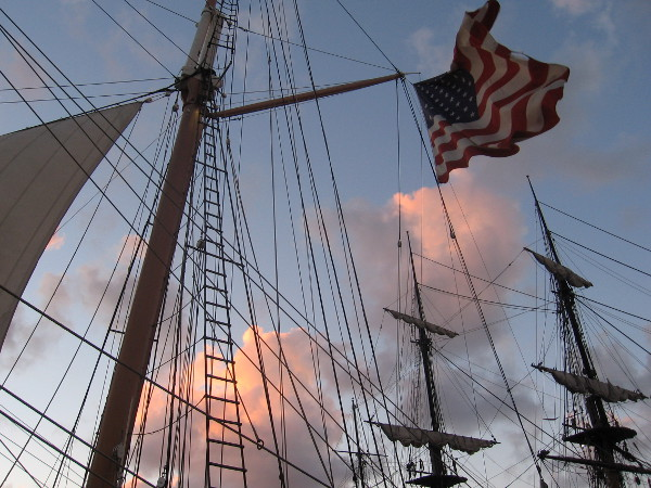Puffy clouds emblazoned by setting sun, and the rigging of glorious tall ships.
