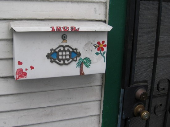 Just a fun mailbox with hearts, flower and palm tree.