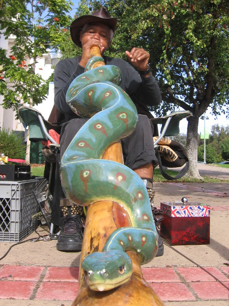 Musician plays didgeridoo that looks like a snake!