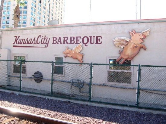 Pigs fly on the rear wall of Kansas City Barbeque!
