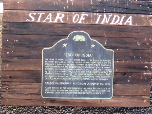 Star of India's California Historical Landmark plaque.