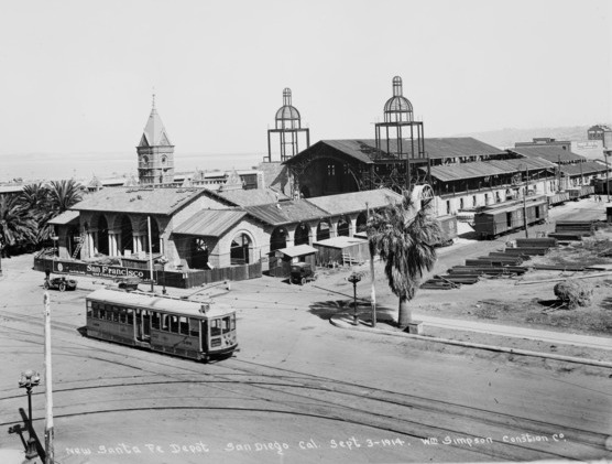 Santa Fe Railroad Station under construction beside the old 1887 Victorian depot. Photo dated September 3, 1914.