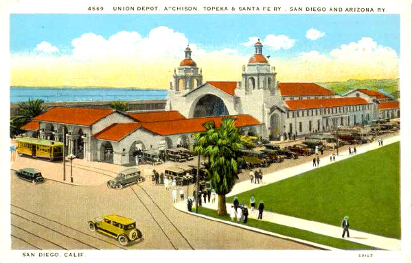 Color postcard from around 1920 features inviting image of San Diego Union Depot.