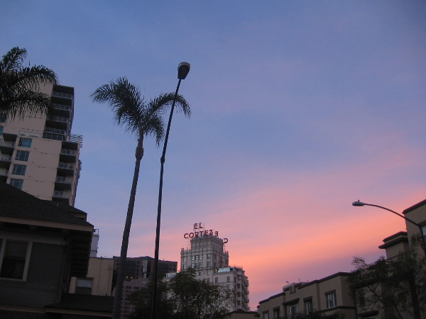 El Cortez seen from a couple blocks away early one morning at sunrise.