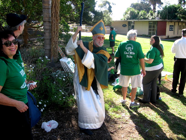 Saint Patrick was seen in downtown San Diego banishing snakes and frowns.