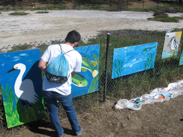 Kids were painting a public mural along the San Diego River Estuary this morning!