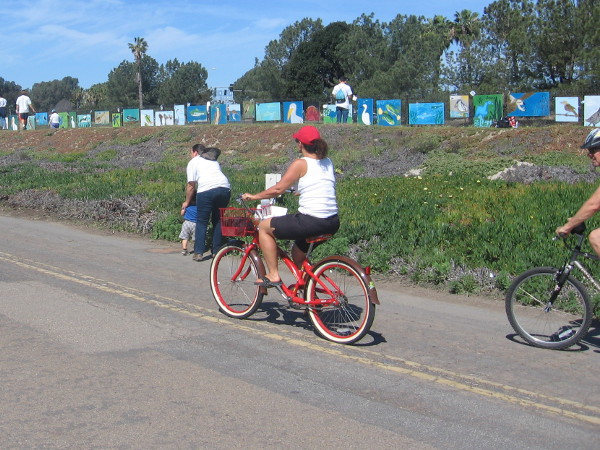 Bicyclists heading down Old Sea World Drive spy a line of colorful artwork.