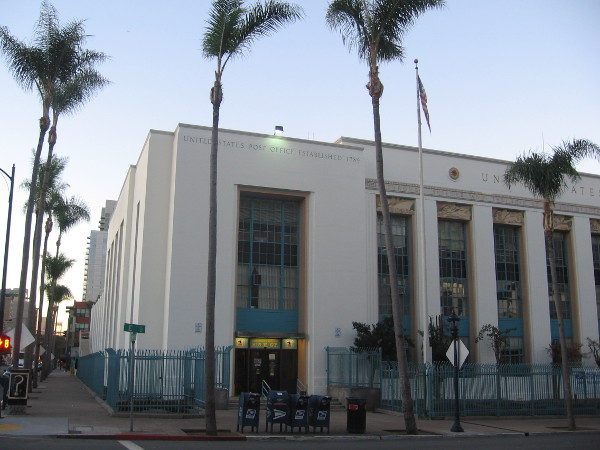 View of San Diego's downtown Post Office from Ninth Avenue.