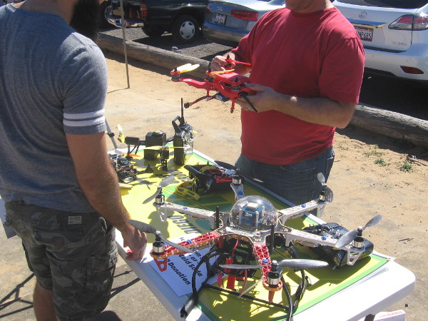 People checked out drones of every size and description.