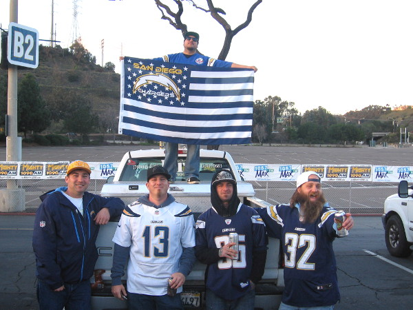 These mega fans were proudly displaying a unique, patriotic Chargers flag.