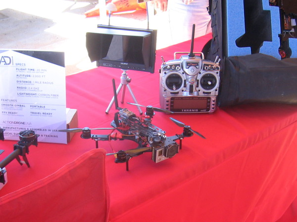 A smaller drone displayed on a table.