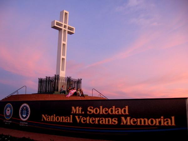 Tinted morning sky above Mt. Soledad National Veterans Memorial in San Diego.