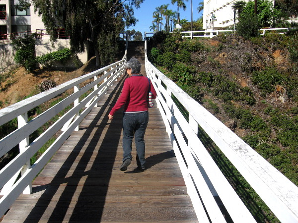 Walking across the very cool historic trestle on Bankers Hill.