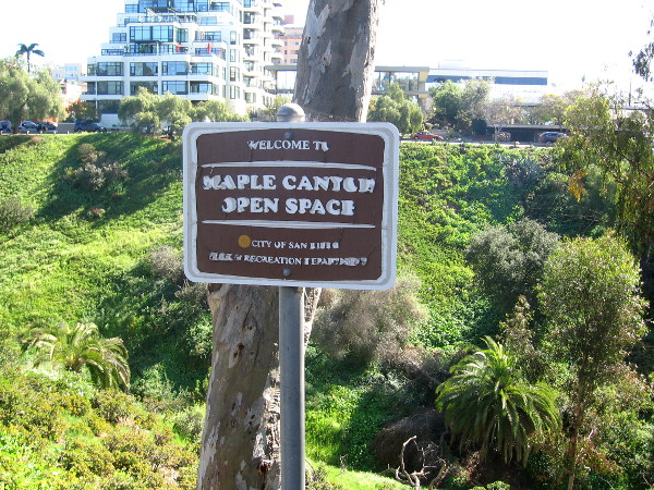 Maple Canyon Open Space sign near trailhead on Bankers Hill.
