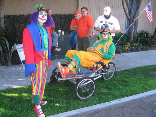 These clowns are relaxing in the shade as a sunny San Diego day heats up.