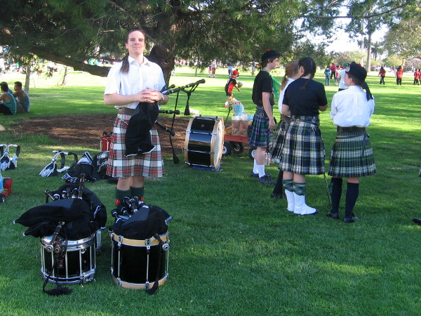 This guy in a traditional kilt will be playing the bagpipes for everyone to enjoy.