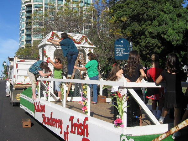 The Academy of Irish Dance gets their festive float ready.