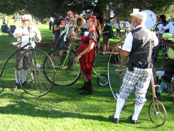 These cool old-fashioned penny-farthing bicycles will take part in the parade.