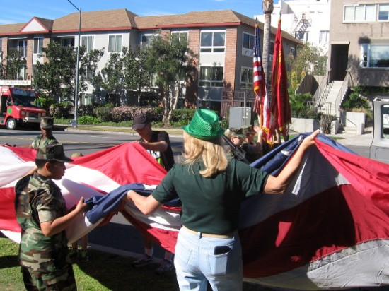 The Young Marines were folding a large American flag as I walked down Sixth Avenue.