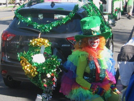 A smiling Irish clown perfectly captures the spirit of this wonderful annual event.