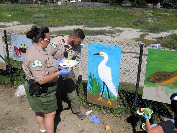 San Diego Park Rangers were also painting a mural. This panel depicts a snowy egret.