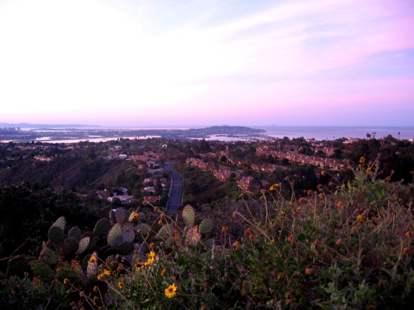 Looking south over part of La Jolla toward Mission Bay and Point Loma. Downtown San Diego is visible on the far left.