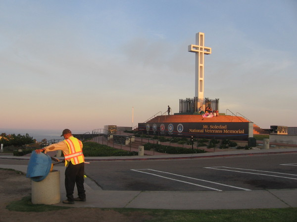 Friendly gentleman keeping the Mt. Soledad Park clean is grateful to work up here surrounded by so much beauty.