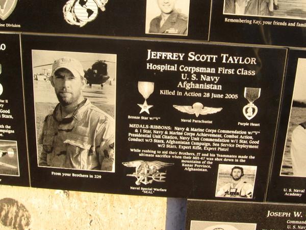 Jeffrey Scott Taylor of U.S. Navy killed in action in Afghanistan in 2005.