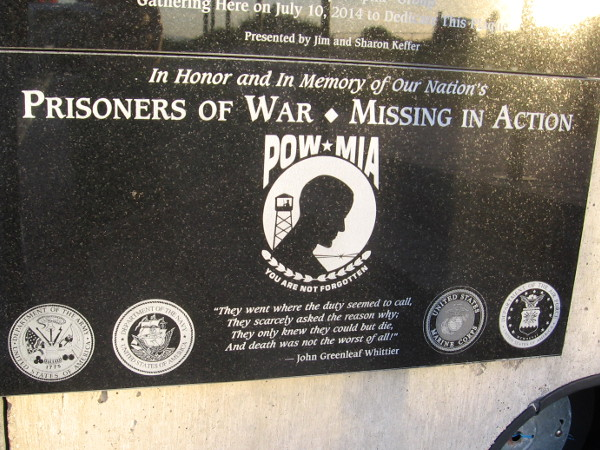 Plaque on Mt. Soledad honors and remembers prisoners of war, and those missing in action.