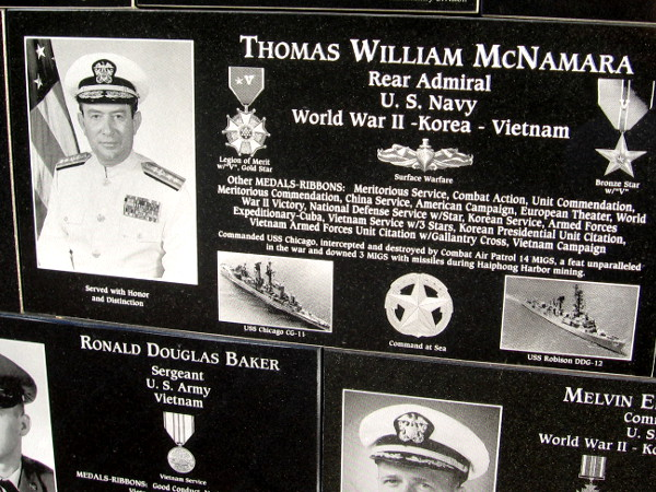 Rear Admiral Thomas William McNamara has a plaque on Mount Soledad.